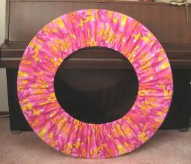 Peace Sign Hula Hoop Holder Cover Pink and Yellow Camo Print for Travel Hooping Festival Accessory Exercise Fitness Equipment Storage Bag