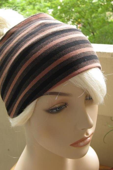 Striped Headband, Turban Head Wrap, Wide Hair Band, Women's Yoga Wrap, Wide Headband, Yoga Headband